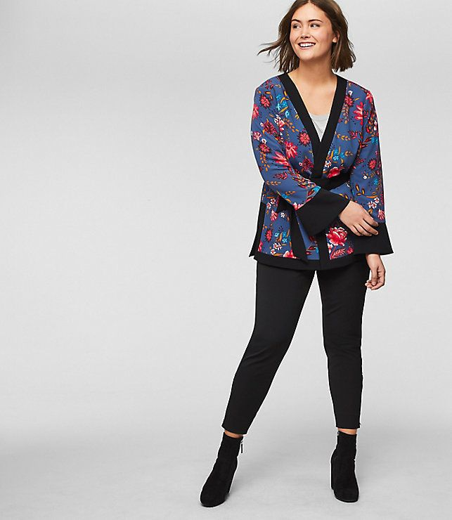 """From Loft's new plus collection, featuring the <a href=""""https://www.loft.com/loft-plus-wildflower-kimono-jacket/459718"""" target=""""_blank"""">Wildflower Kimono Jacket</a>."""