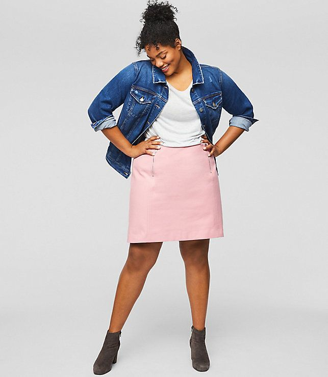 "From Loft's new plus collection, featuring the <a href=""https://www.loft.com/loft-plus-double-zip-bi-stretch-skirt/461431"" target=""_blank"">Double Zip Bi-Stretch Skirt</a>."
