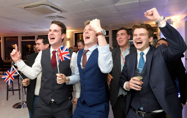 Leave supporters cheer results at a Leave.eu party after polling stations closed in the Referendum on...