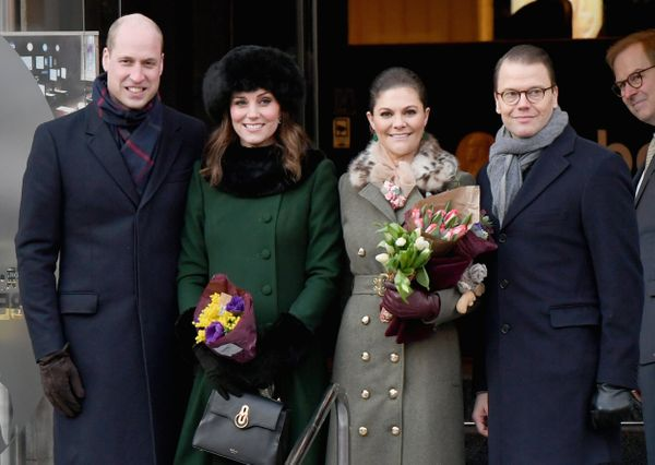 William and Kate with Crown Princess Victoria of Sweden and Prince Daniel of Sweden on Jan. 30.