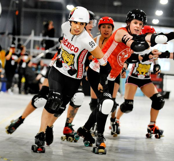 Mexico and Switzerland compete in the Roller Derby World Cup on Feb. 4 in Manchester, England.