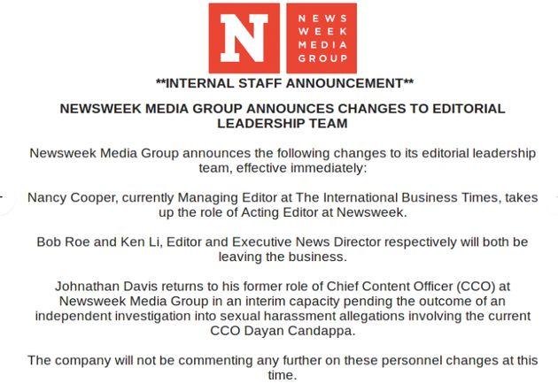 Newsweek's Top Editor And Staffers Suddenly