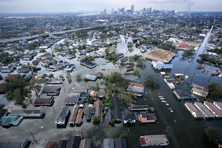An aerial view of the devastation in the greater New Orleans area following Hurricane Katrina on  Aug. 30, 2005.