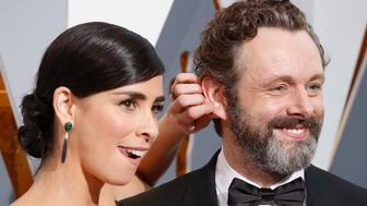 Presenter Sarah Silverman arrives with partner Michael Sheen at the 88th Academy Awards in Hollywood, California February 28, 2016.  REUTERS/Adrees Latif