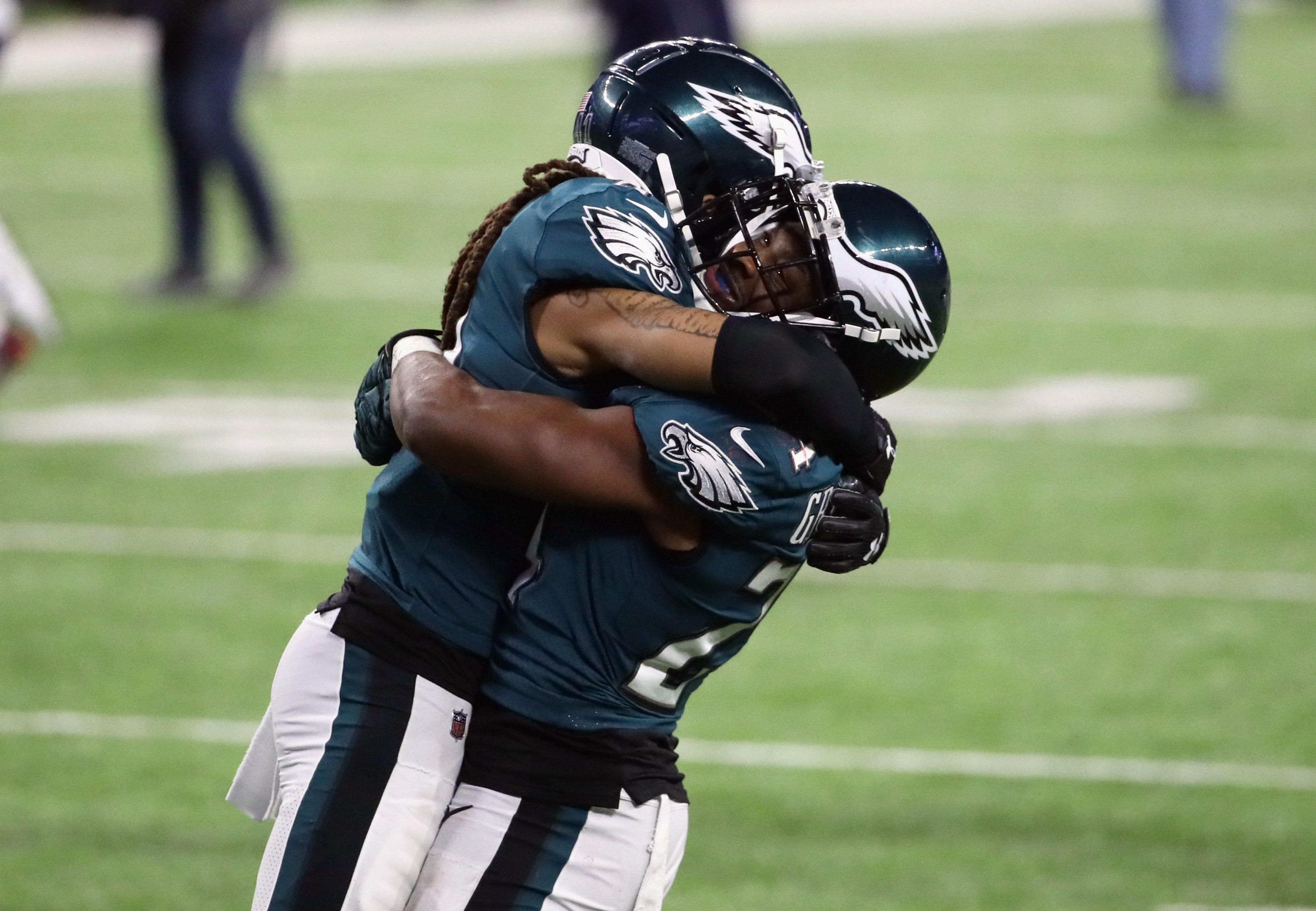 MINNEAPOLIS, MN - FEBRUARY 04:  Ronald Darby #41 and  Corey Graham #24 of the Philadelphia Eagles celebrate winning Super Bowl LII against the New England Patriots 41-33 at U.S. Bank Stadium on February 4, 2018 in Minneapolis, Minnesota.  (Photo by Jonathan Daniel/Getty Images)