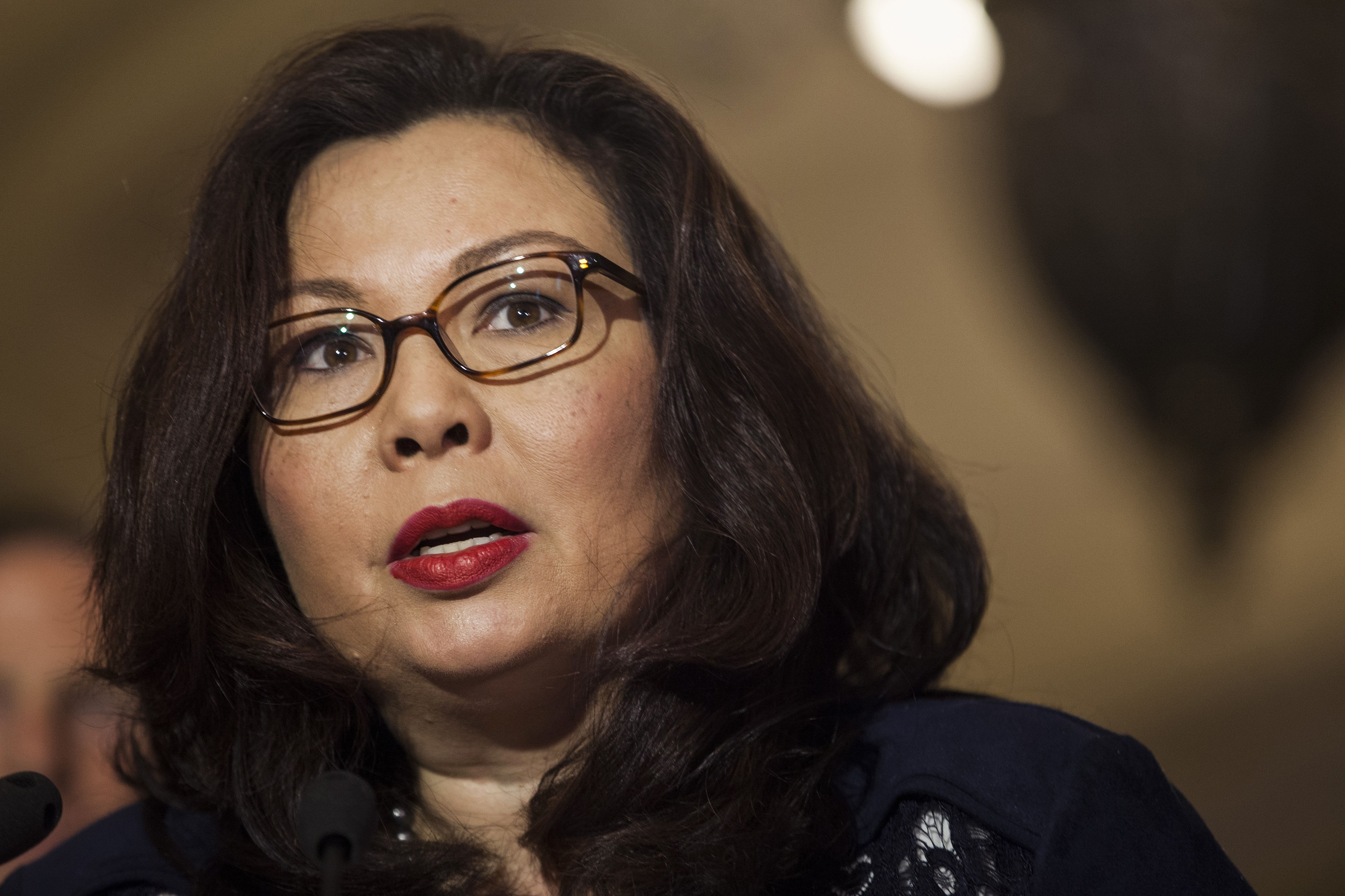 Senator Tammy Duckworth, a Democrat from Illinois, speaks during a news conference following a Senate Democratic luncheon in Washington, D.C., U.S., on Tuesday, May 16, 2017. U.S. lawmakers from both parties kept up the pressure on Donald Trump over the sudden firing of James Comey, demanding that recordings the president suggested he may have made of his meetings with the former FBI director be preserved and handed over to lawmakers. Photographer: Zach Gibson/Bloomberg via Getty Images