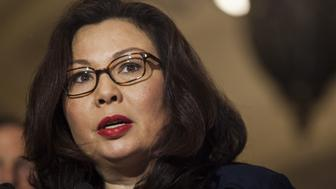Senator Tammy Duckworth, a Democrat from Illinois, speaks during a news conference following a Senate Democratic luncheon in Washington, D.C., U.S., on Tuesday, May 16, 2017. U.S. lawmakers from both parties kept up the pressure on Donald Trumpover the sudden firing ofJames Comey, demanding that recordings the presidentsuggestedhe may have made of his meetings with the former FBI director be preserved and handed over to lawmakers. Photographer: Zach Gibson/Bloomberg via Getty Images