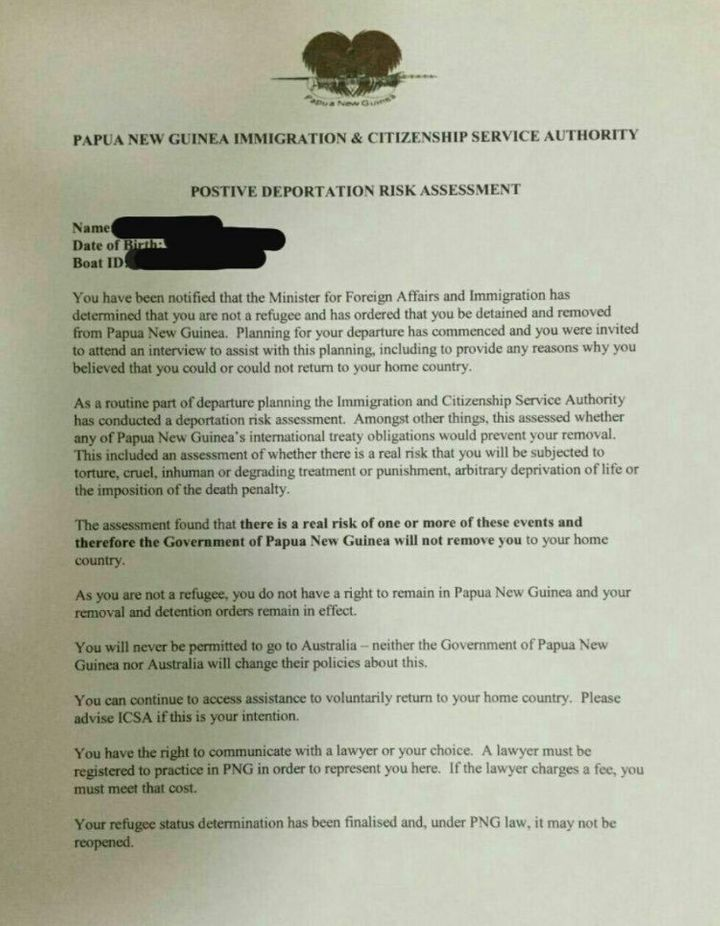 The letter distributed to asylum seekers on Manus Island in Papua New Guinea.