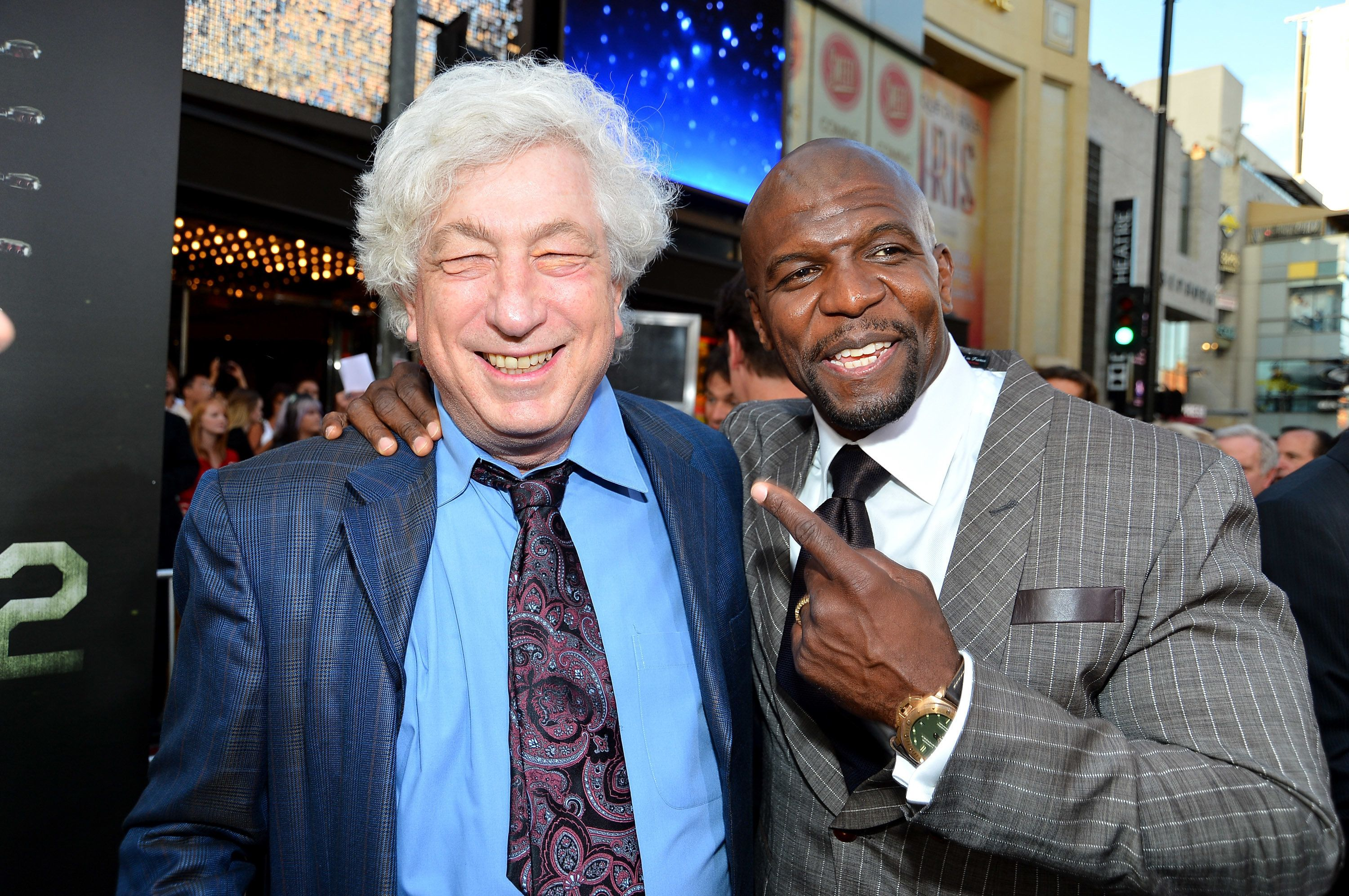 "Actor Terry Crews, right, with producer Avi Lerner at the ""Expendables 2"" premiere in Hollywood in 2012."