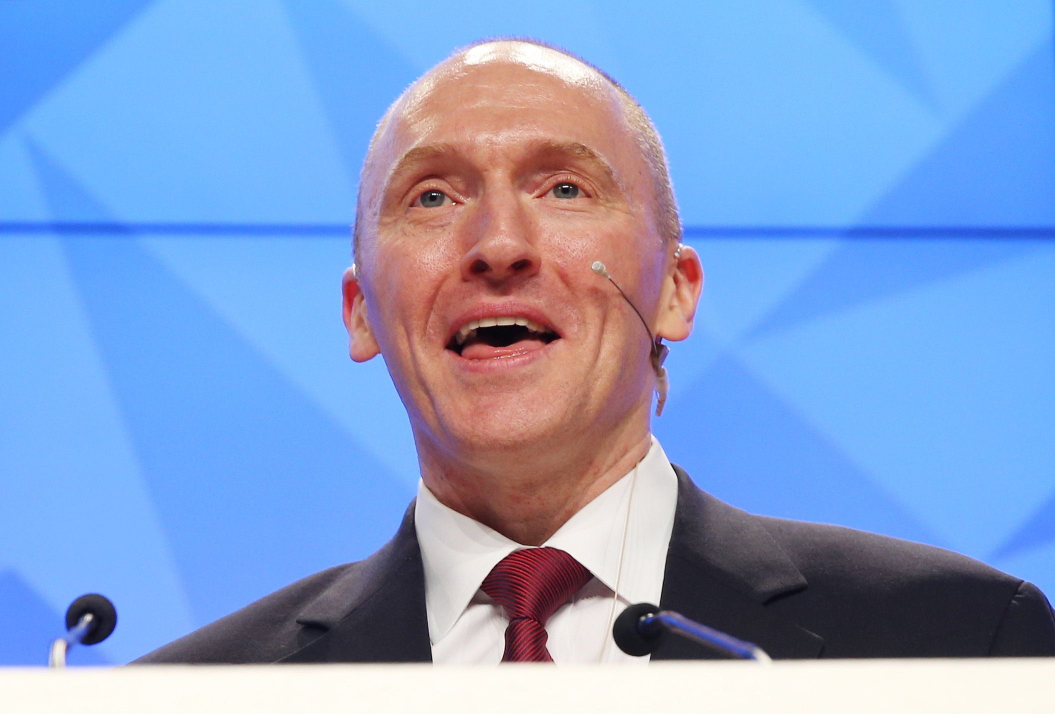 MOSCOW, RUSSIA - DECEMBER 12, 2016: Carter Page, Global Energy Capital LLC Managing Partner and a former foreign policy adviser to U.S. President-Elect Donald Trump, makes a presentation titled ' Departing from Hypocrisy: Potential Strategies in the Era of Global Economic Stagnation, Security Threats and Fake News' during his visit to Moscow. Artyom Korotayev/TASS (Photo by Artyom Korotayev\TASS via Getty Images)
