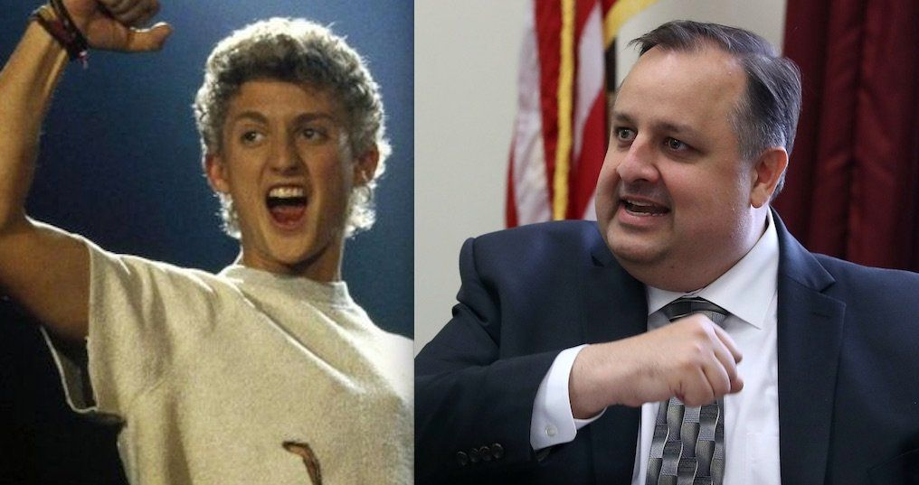 "Actor Alex Winter, left, as Bill in ""Bill and Ted's Excellent Adventure,"" had a laugh on Twitter with former White House ethi"