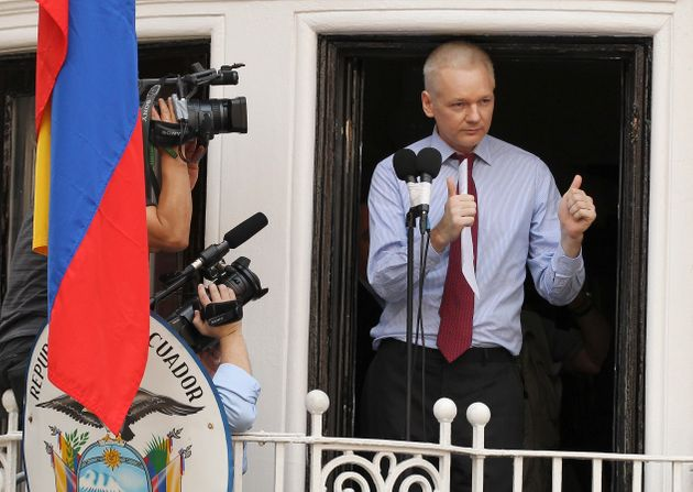 Julian Assange has been living at the Ecuadorian embassy in London since 2012, the year he is pictured