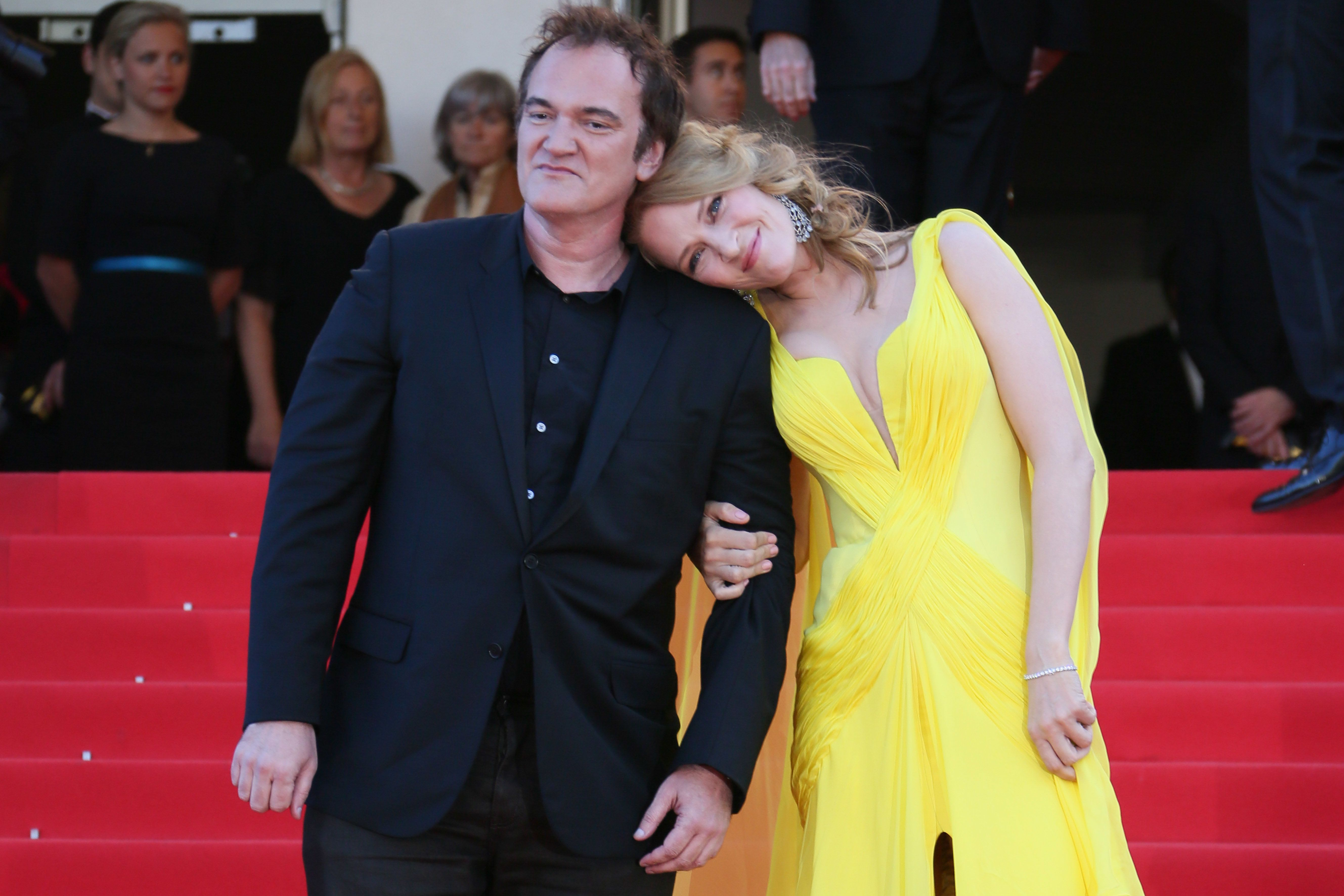CANNES, FRANCE - MAY 23:  Quentin Tarantino and Uma Thurman attend the 'Clouds Of Sils Maria' premiere at the 67th Annual Cannes Film Festival on May 23, 2014 in Cannes, France.  (Photo by Tony Barson/FilmMagic)