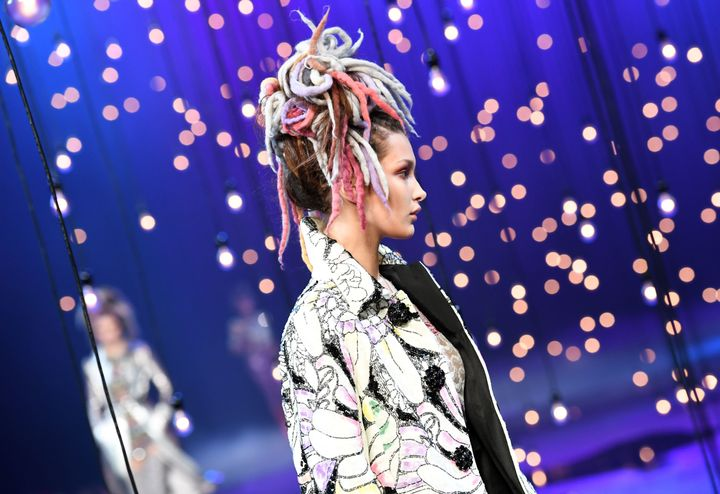 Model Bella Hadid walking in the Marc Jacobs show on Sept. 15, 2016. Jacobs was accused of cultural appropriationafter he sent (mostly white) models down the runway wearing locs.