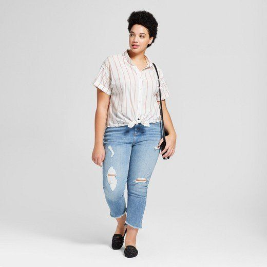 "From Target's new Universal Thread clothing line, featuring the <a href=""https://www.target.com/p/women-s-plus-size-striped-short-sleeve-button-down-shirt-universal-thread-153-cream/-/A-53060997#lnk=sametab"" target=""_blank"">Short Sleeve Button Down Shirt in cream</a>."