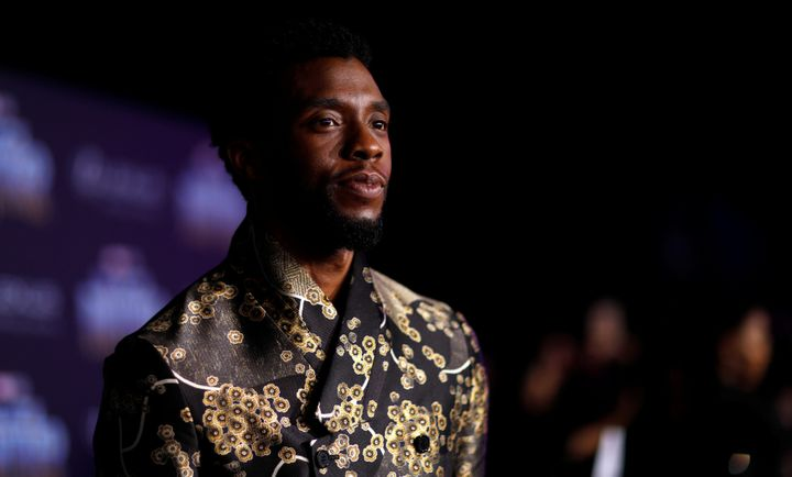 """Chadwick Boseman poses at the premiere of """"Black Panther"""" in Los Angeles, California, U.S., Jan. 29, 2018."""