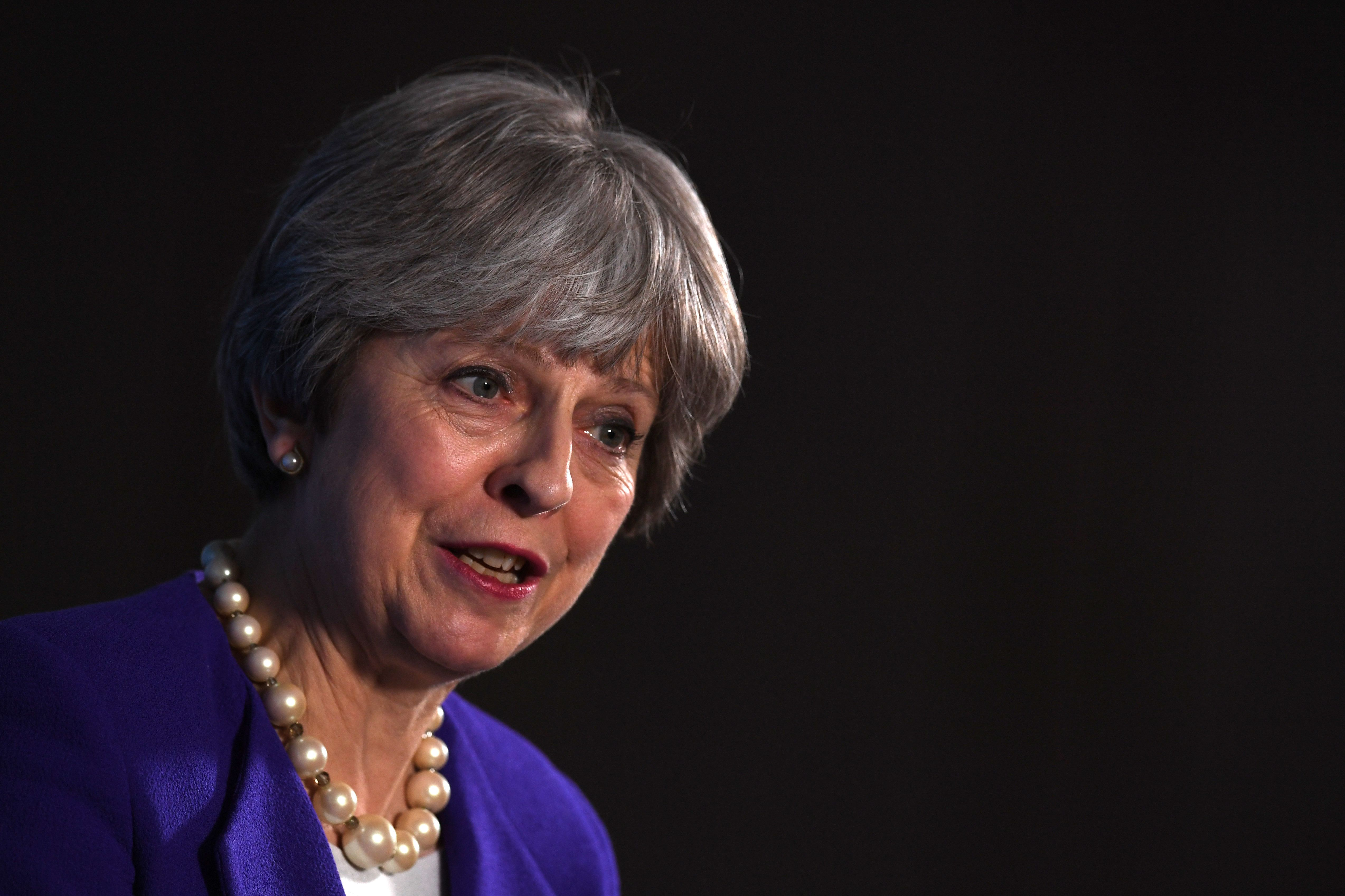 <strong>Theresa May speaking in Manchester to mark the centenary of the 1918 Representation of the People Act</strong>