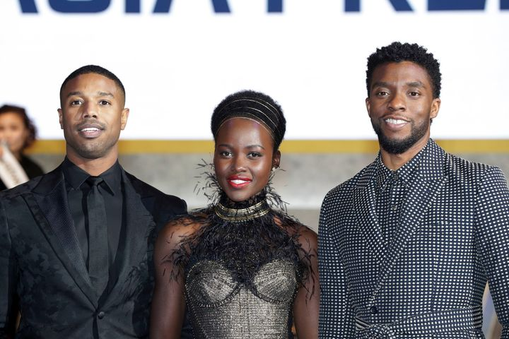 Actors Michael B. Jordan, Lupita Nyong'o, and Chadwick Boseman (left to right) arrive at the red carpet of the Seoul pre