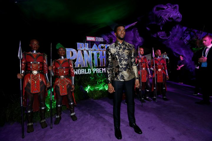 "Chadwick Boseman poses at the premiere of ""Black Panther"" in Los Angeles, California, U.S., Jan. 29, 2018."