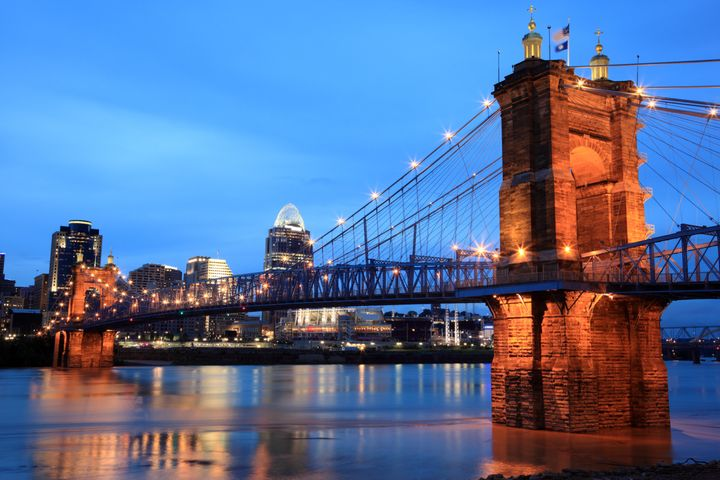 Cincinnati's Roebling Bridge at night.