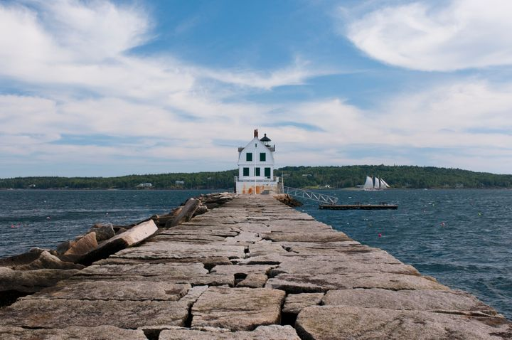 A view of the Rockland Breakwater Lighthouse.