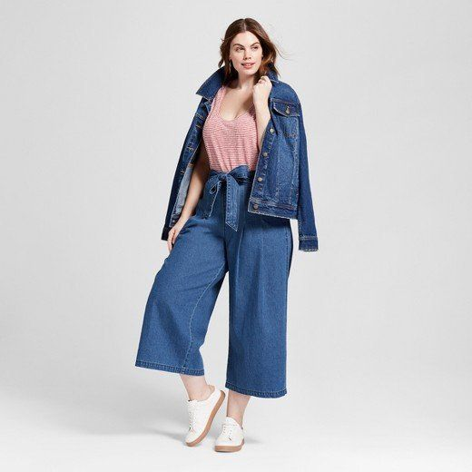 "From Target's new Universal Thread clothing line, featuring the <a href=""https://www.target.com/p/women-s-plus-size-tie-front-wide-leg-jeans-universal-thread-153-medium-wash/-/A-53058495#lnk=sametab"" target=""_blank"">Tie Front Wide Leg Jeans</a>."