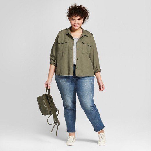 "From Target's new Universal Thread clothing line, featuring the <a href=""https://www.target.com/p/women-s-plus-size-military-jacket-universal-thread-153-olive/-/A-53055669#lnk=newtab"" target=""_blank"">Military Jacket in olive</a>."