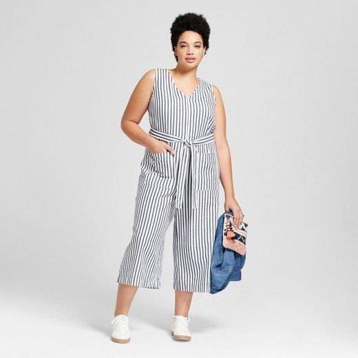 "From Target's new Universal Thread collection, featuring the <a href=""https://www.target.com/p/women-s-plus-size-cropped-stripe-jumpsuit-universal-thread-153-navy-stripe/-/A-53061095#lnk=newtab"" target=""_blank"">Cropped Stripe Jumpsuit in navy stripe</a>."