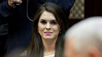 Hope Hicks, White House director of strategic communications, listens while meeting with U.S. President Donald Trump, not pictured, and women small business owners in the Roosevelt Room of the White House in Washington, D.C., U.S., on Monday, March 27, 2017. Investors on Monday further unwound trades initiated in November resting on the idea that the election of Trump and a Republican Congress meant smooth passage of an agenda that featured business-friendly tax cuts and regulatory changes. Photographer: Andrew Harrer/Bloomberg via Getty Images