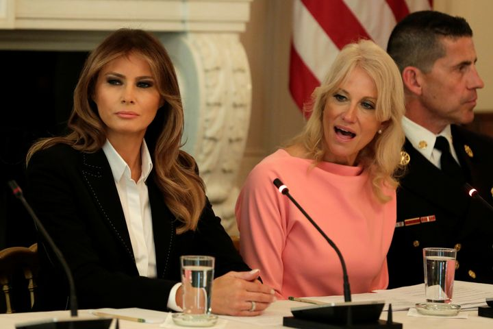 Kellyanne Conway and Melania Trump in a White House meeting with experts and people affected by the opioid crisis.