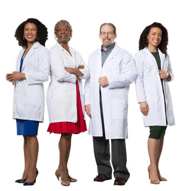 From left to right, Drs. Jessica, Janice, David and Rachel Knox operate a cannabis therapeutics clinic...