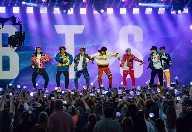 Korean K-pop band BTSis seen performing at