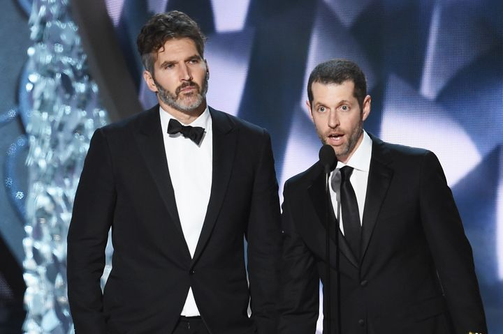 """David Benioff and D.B. Weiss accepting an Emmy for Outstanding Writing for a Drama Series for """"Game of Thrones"""" in 2016."""