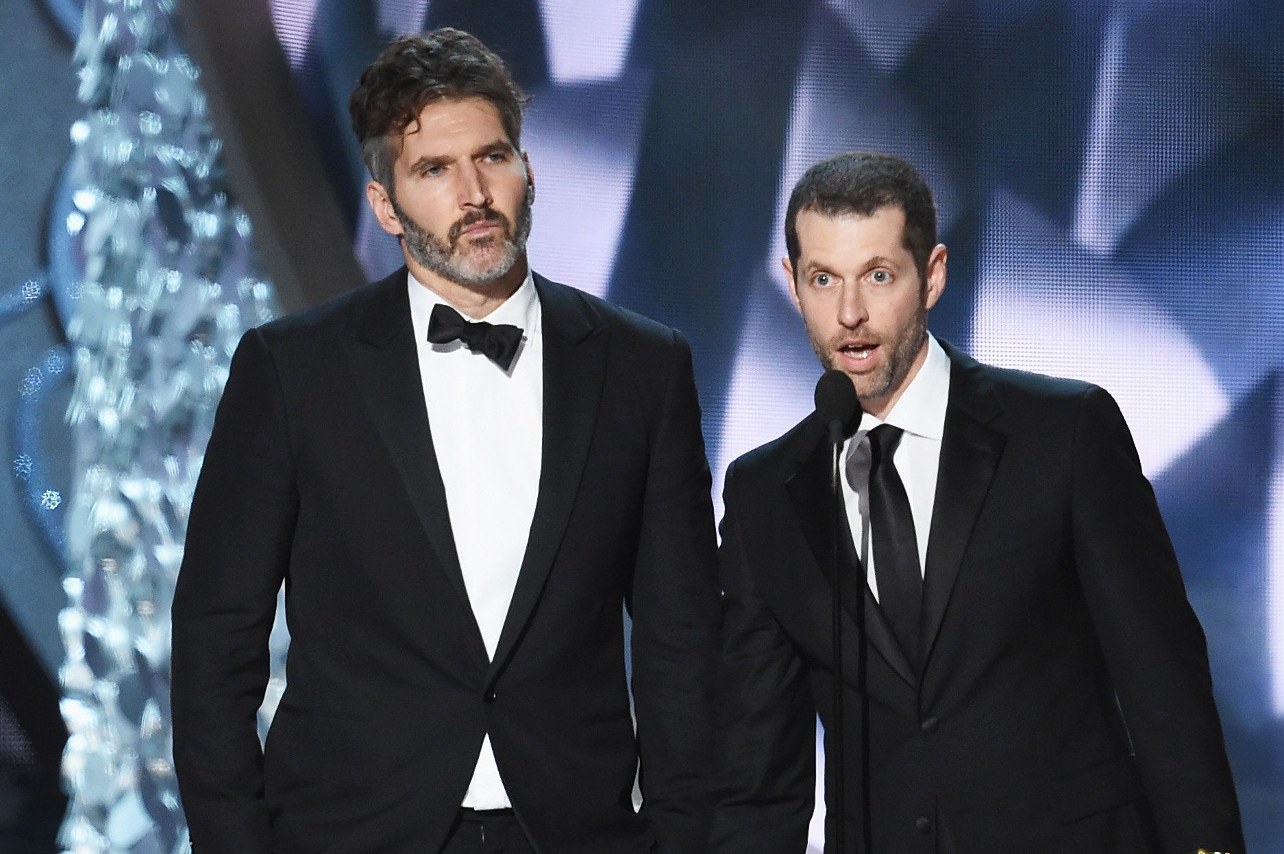 "David Benioff and D.B. Weiss accepting an Emmy for Outstanding Writing for a Drama Series for ""Game of Thrones"" i"