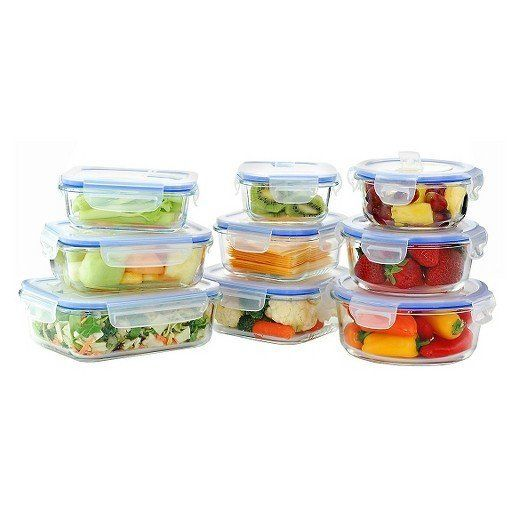 These glass food storage containers include lids with ventilation, and can be used in both the oven and the glass. Get them <