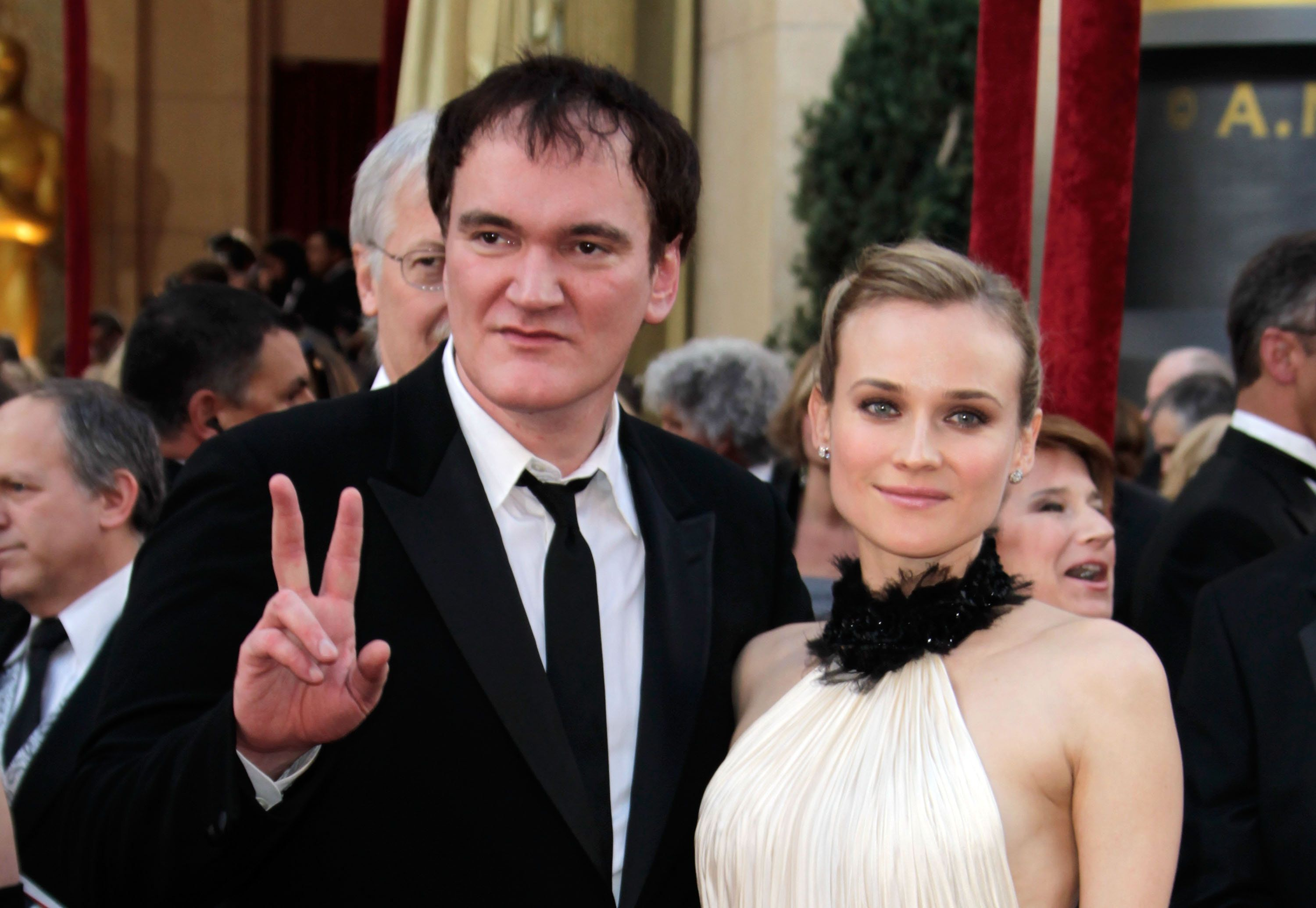 Writer/ Director Quentin Tarantino and Actress Diane Kruger arrive at the 82nd Annual Academy Awards held at the Kodak Theatre on March 7, 2010 in Hollywood, California. (Photo by Jeff Vespa/WireImage)