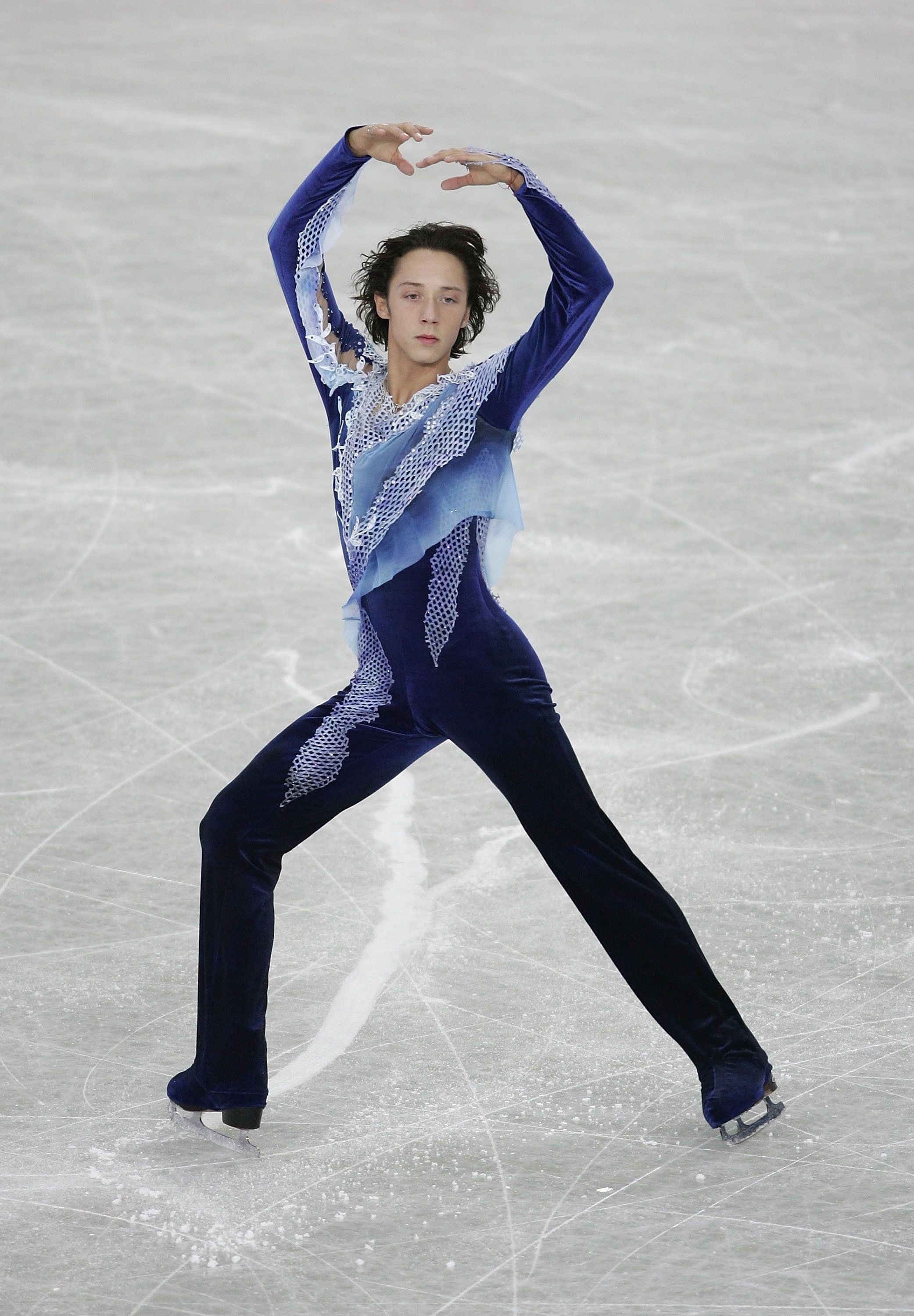Performing during the men's qualifying free skate at the ISU World Figure Skating Championships at the Luzhniki Sports P