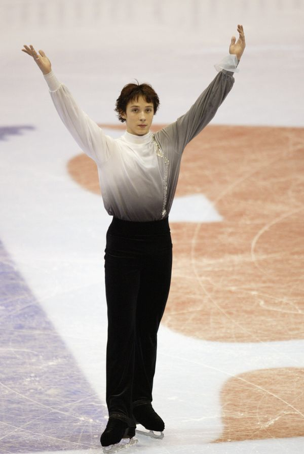Finishing his program in the men's free skate at the State Farm U.S. Figure Skating Championships on Jan. 18, 2003, in Dallas