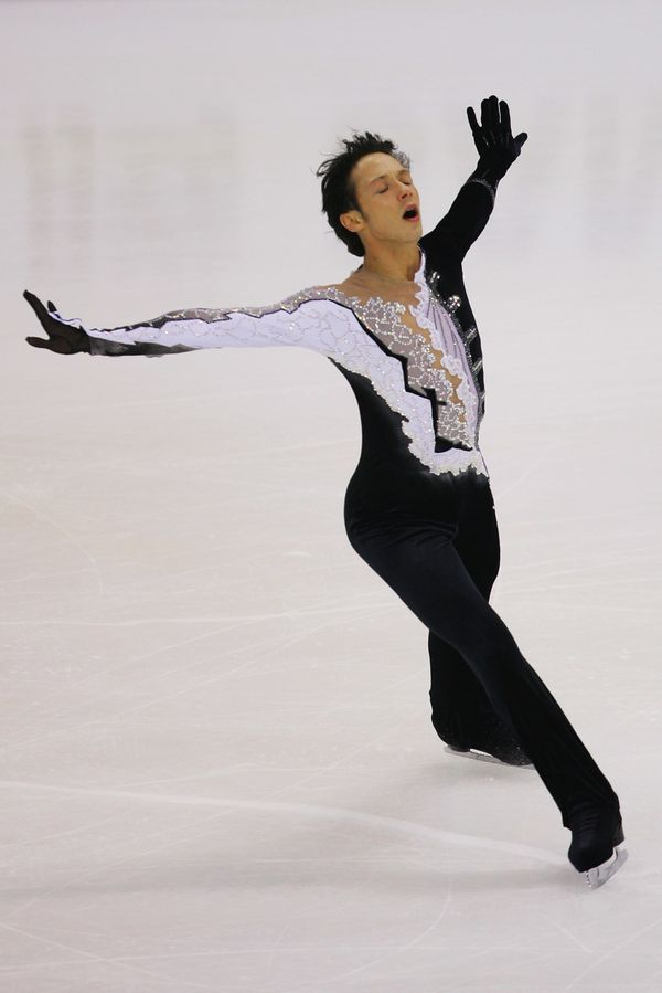 Skating in the men's short program during the Cup of China Figure Skating competition, held at Harbin Internat