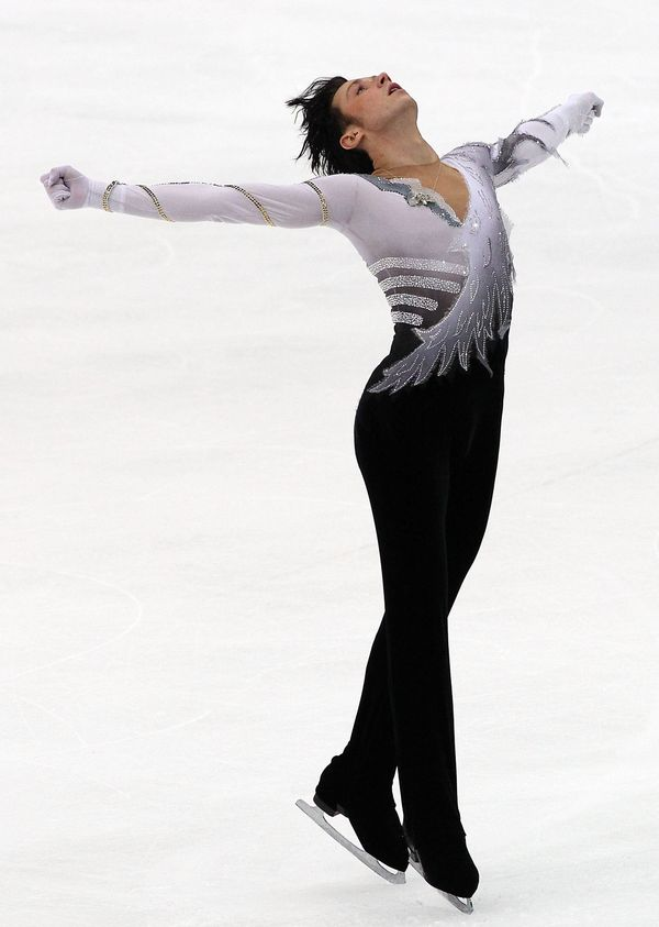 Performing in the men's free skating on day 1 of the ISU Grand Prix of Figure Skating NHK Trophy at Big Hat on Nov.