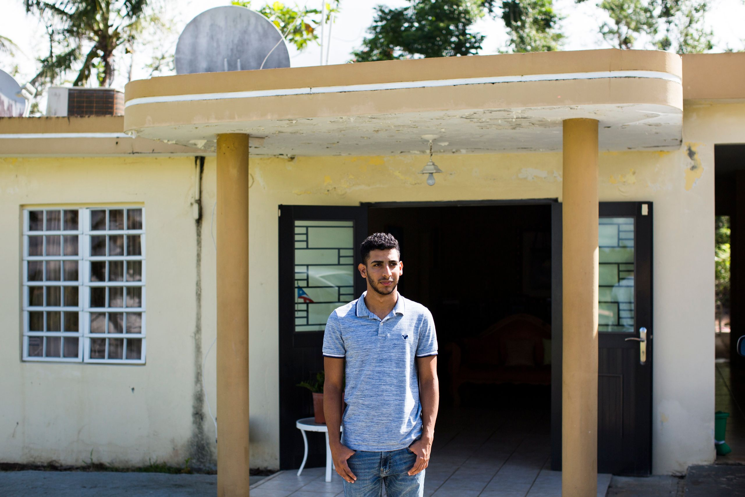 Jeancarlo Ruiz Núñez, 21, at his family'€™s home in Lares, P.R.