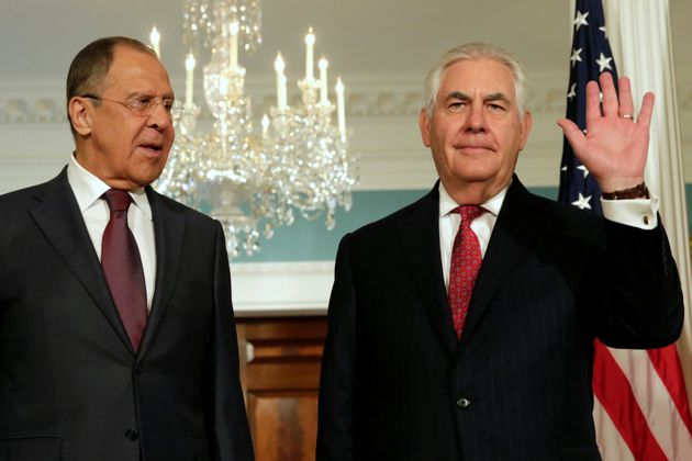 U.S. Secretary of State Rex Tillerson (right) with Russian Foreign Minister Sergey Lavrov (left) at the...
