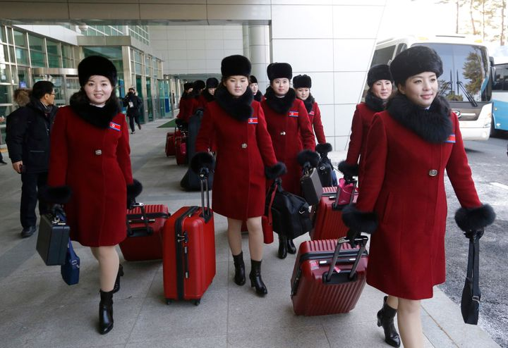 North Korean cheering squads arrive at the Korean-transit office near the Demilitarized Zone ahead of the Pyeongchang 2018 Wi