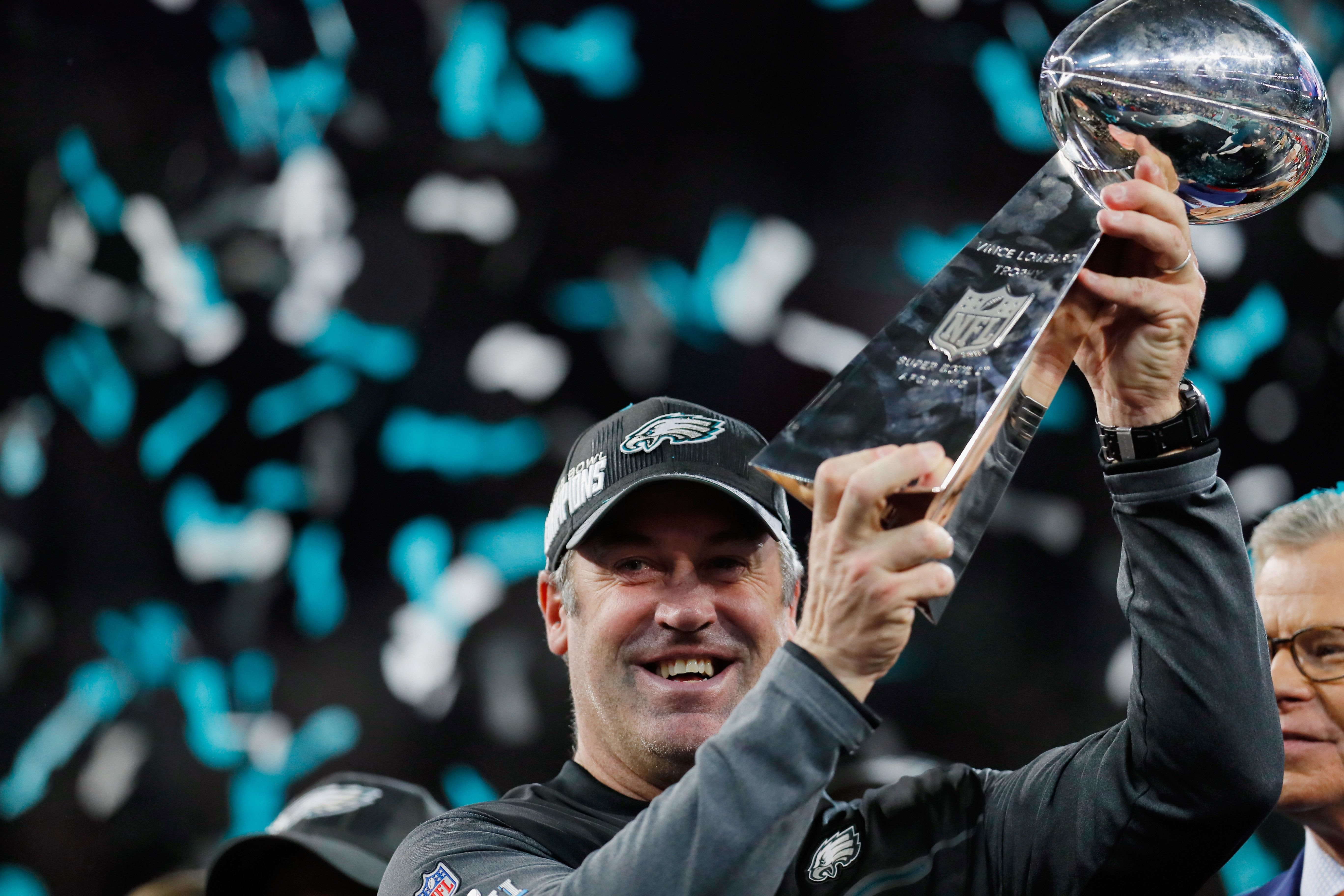 Head coach Doug Pederson of the Philadelphia Eagles celebrates with the Vince Lombardi Tropy after his...