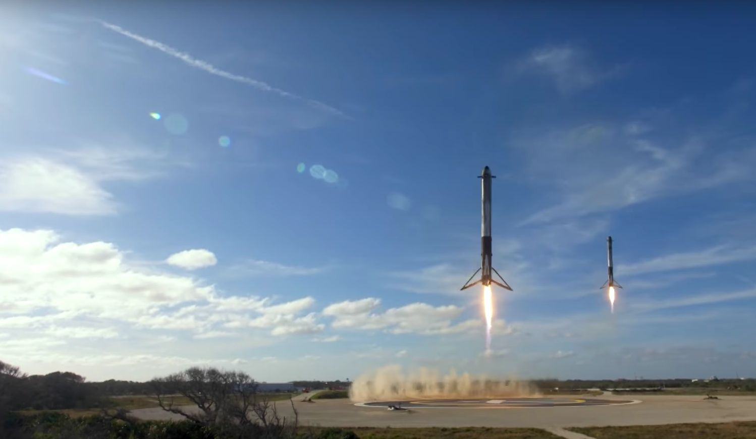 Watch The Incredible Moment SpaceX Landed Two Rockets Side By