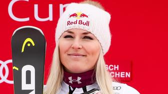 GARMISCH-PARTENKIRCHEN, GERMANY - FEBRUARY 04: Lindsey Vonn of USA takes 1st place during the Audi FIS Alpine Ski World Cup Women's Downhill on February 4, 2018 in Garmisch-Partenkirchen, Germany. (Photo by Millo Moravski/Agence Zoom/Getty Images)
