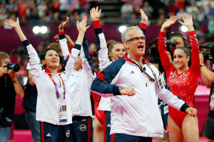 Geddert celebrates during the final rotation in the Artistic Gymnastics Women's Team final on Day 4 of the London 2012 Olympi