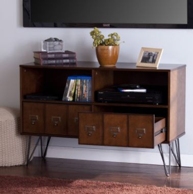 southern enterprises blandenship midcentury whiskey maple tv stand from a