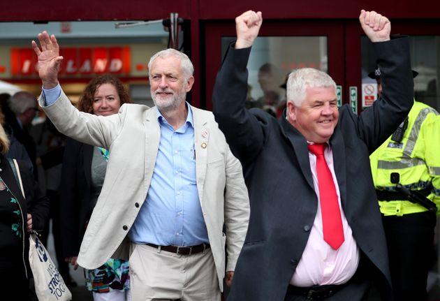 Hugh Gaffney (left) campaigning with Jeremy