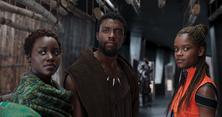 "Lupita Nyong'o Chadwick Boseman and Letitia Wright in ""Black Panther."""